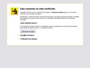 Ventana de Mozilla Firefox con alerta de seguridad por una conexión no verificada.