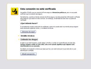 Ventana de Mozilla Firefox con alerta de seguridad por una conexión no verificada y añadir excepción de confianza