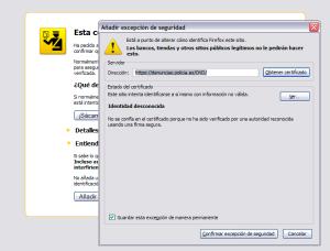 Ventana emergente de Firefox para confirmar que se añade una excepción de seguridad para un certificado de identidad desconocida