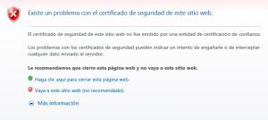 Alerta de seguridad de Interne Explorer por un problema con el certificado de seguridad del sitio web y si se desea ir al mismo o cerrar la página